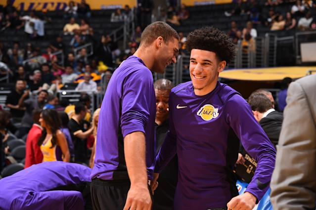 "<a class=""link rapid-noclick-resp"" href=""/ncaab/players/136151/"" data-ylk=""slk:Lonzo Ball"">Lonzo Ball</a>'s play at the point could put smiles on a lot of Lakers fans faces this year. (Getty)"