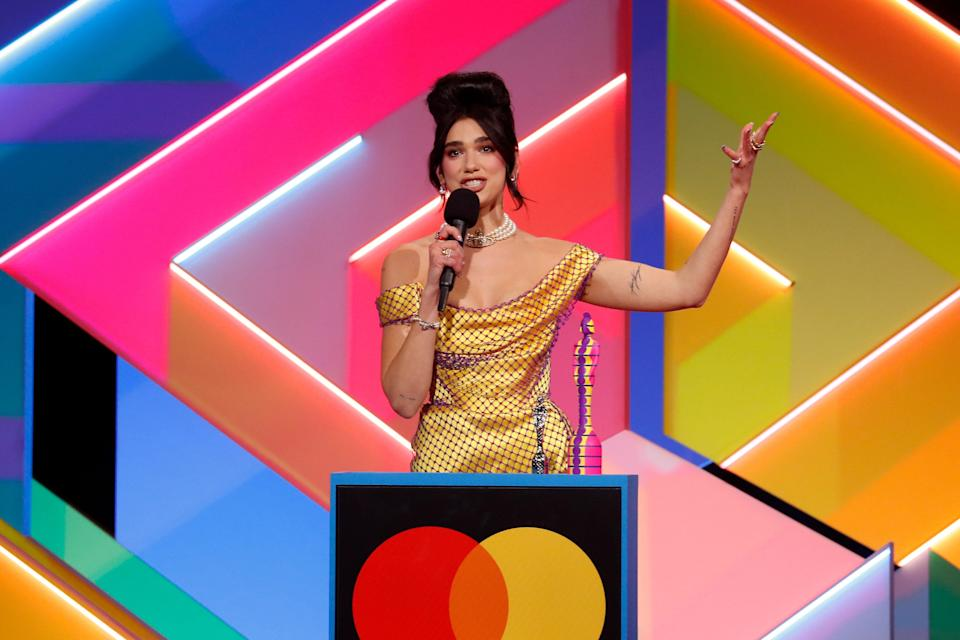 Dua Lipa receives the award for Best Female Solo Artist during The Brit Awards 2021 (Photo: JMEnternational via Getty Images)