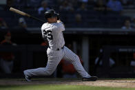New York Yankees' Gleyber Torres hits an RBI single against the Baltimore Orioles in the seventh inning of a baseball game on Saturday, Sept. 4, 2021, in New York. (AP Photo/Adam Hunger)