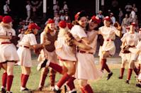 "<p>Directed by Penny Marshall and starring Geena Davis, Tom Hanks, Madonna, and Lori Petty, <em>A League of Their Own</em> is a fictionalized account of the all-female professional baseball league that formed during World War II. It's one of the best sports movies ever, full stop, in a genre that largely ignores women's stories.</p> <p><em>Available to rent on</em> <a href=""https://www.amazon.com/League-Their-Own-Tom-Hanks/dp/B00BZBEPP4/"" rel=""nofollow noopener"" target=""_blank"" data-ylk=""slk:Amazon Prime Video"" class=""link rapid-noclick-resp""><em>Amazon Prime Video</em></a><em>.</em></p>"