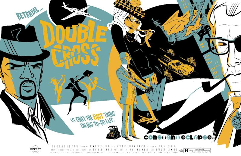 "This comic image released by OFFSET LAB, Inc., shows an issue of ""Doublecross.""  The imprint is making its debut at New York Comic Con this week, touting three offerings _ ""Destroy,"" ""Doublecross"" and ""Deathface"" _ with more on the horizon. Thanks to the proliferation of digital comics as a medium, people _ whether readers, creators, comics fans or other _ no longer have to worry about rules like 22-pages in a comic or a certain number of colors or even the size of a page on which to draw. (AP Photo/OFFSET LAB, Inc)"