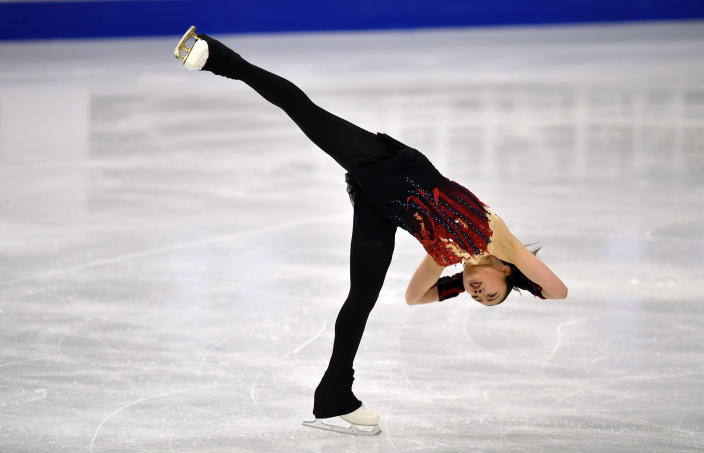 Rika Kihira of Japan performs during the Ladies Short Program at the Figure Skating World Championships in Stockholm, Sweden, Wednesday, March 24, 2021. (AP Photo/Martin Meissner)