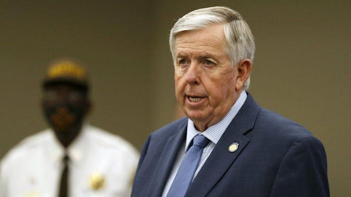 In this Aug. 6, 2020 file photo, Missouri Republican Gov. Mike Parson speaks during a news conference in St. Louis. (AP Photo/Jeff Roberson, File)