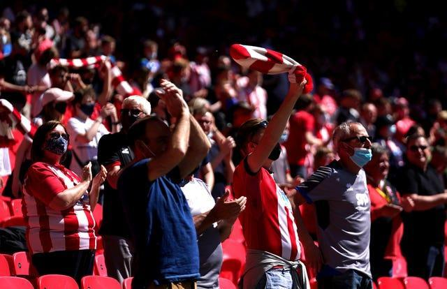Lincoln fans were celebrating after 48 seconds at Wembley