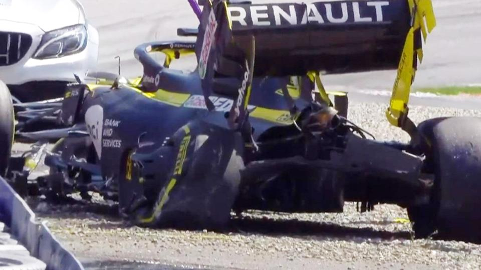 Daniel Ricciardo, pictured here after his scary crash in practice.