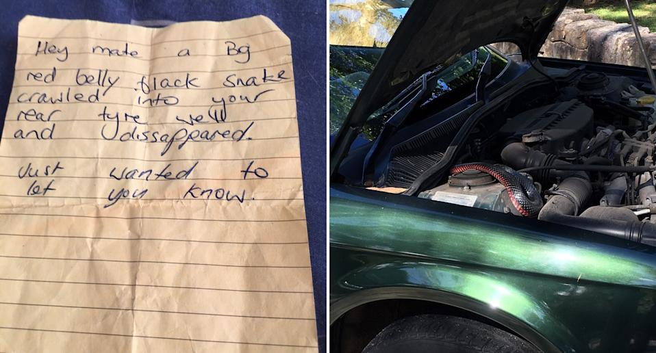 A note left for a driver on his car.