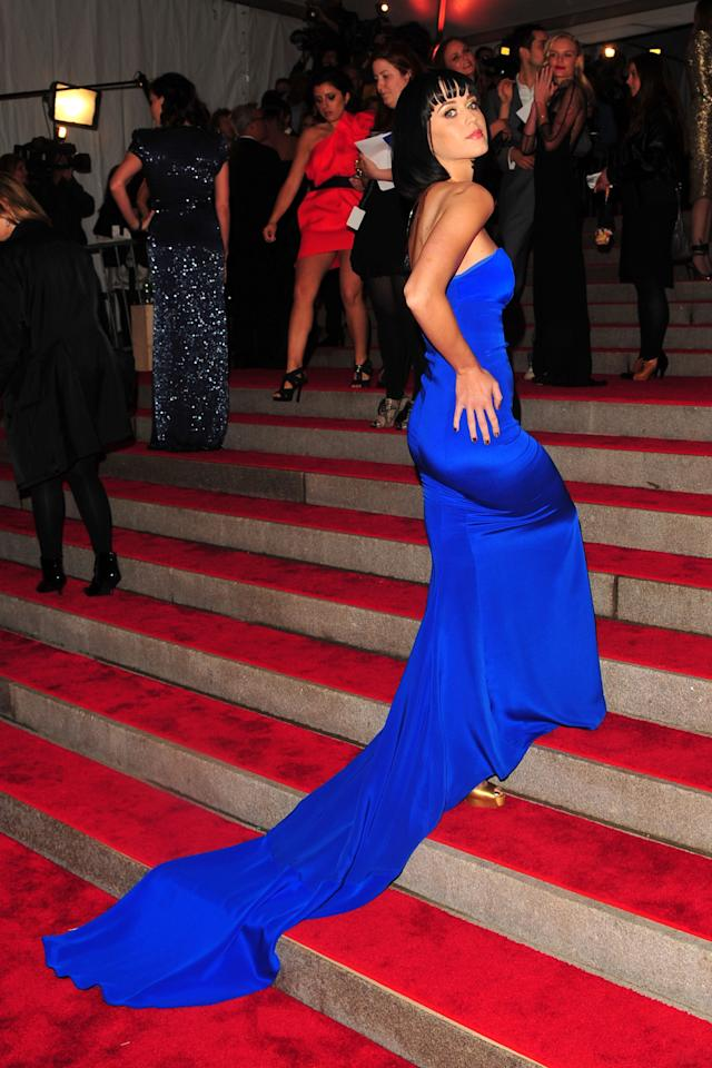 <p>Katy Perry wore a bold blue Tommy Hilfiger gown to the 2009 Costume Institute Gala.</p>