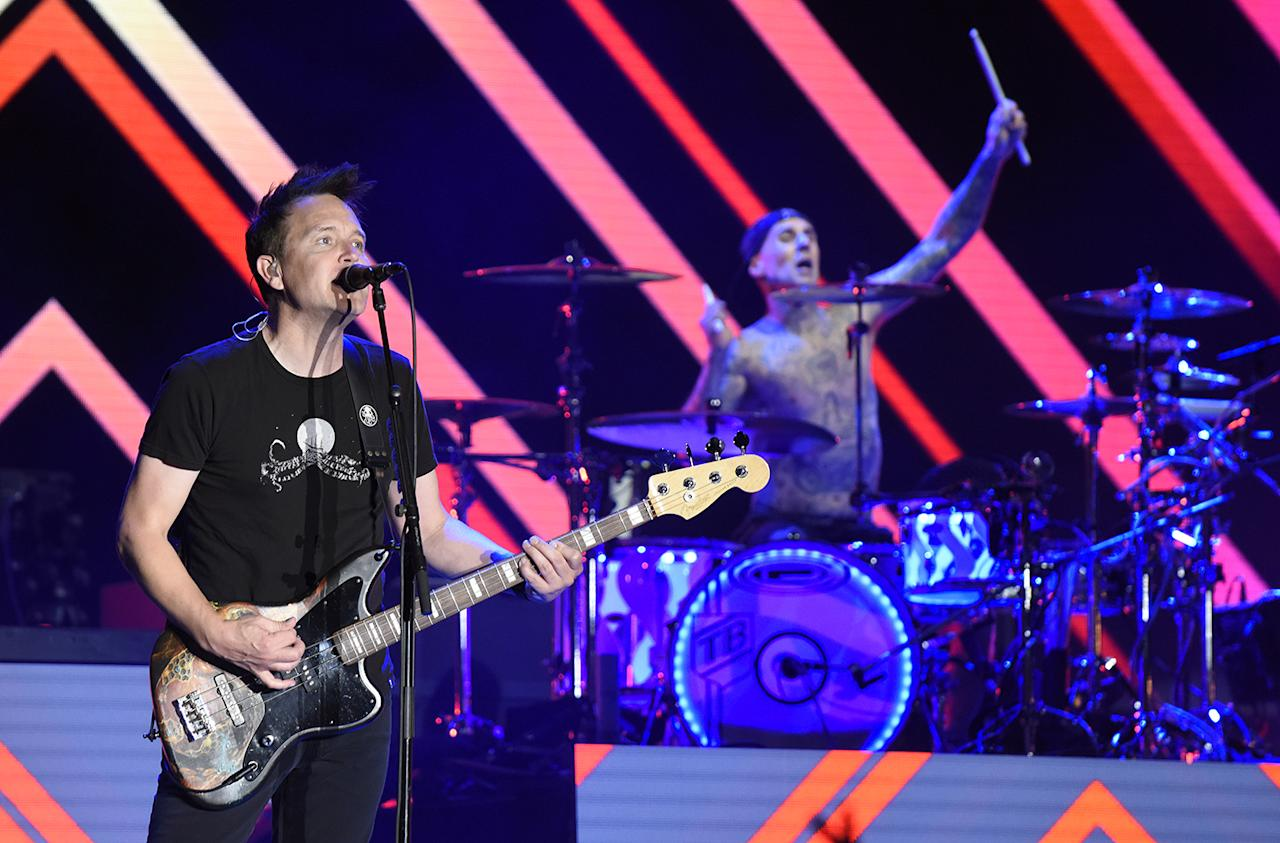 <p>Mark Hoppus (L) and Travis Barker of Blink 182 perform during the 2017 Life is Beautiful Festival on September 22, 2017 in Las Vegas, Nevada.<br />(Photo by Tim Mosenfelder/Getty Images) </p>
