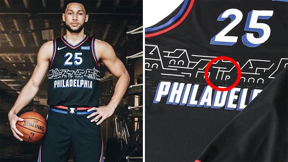 Ben Simmons modelled the Philadelphia 76ers' new 'City' jerseys on social media, and it didn't take long for fans to spot a cheeky hidden detail. Pictures: @sixers/Instagram