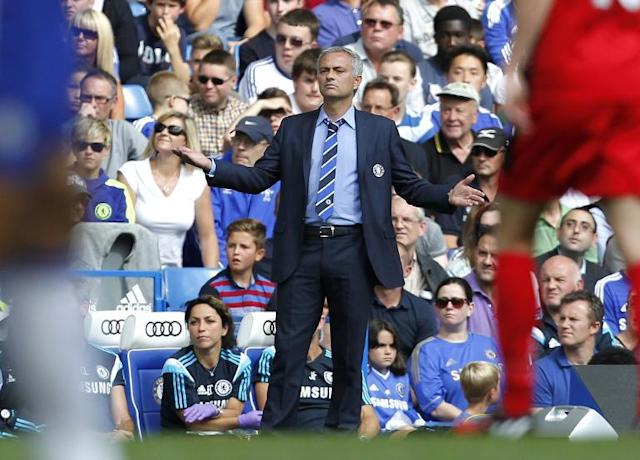 Chelsea's Portuguese manager Jose Mourinho gestures during the English Premier League football match between Chelsea and Leicester City at Stamford Bridge in London on August 23, 2014 (AFP Photo/Ian Kington)