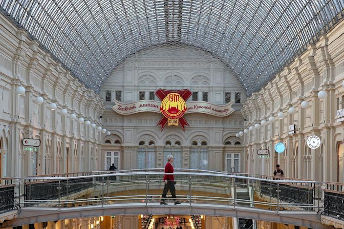 An empty scene at the usually bustling GUM department store in Moscow on Friday.