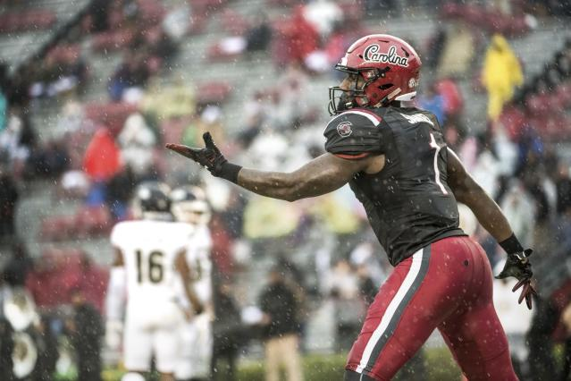 South Carolina wide receiver Deebo Samuel (1) celebrates his third touchdown during the first half of an NCAA college football game against Akron Saturday, Dec. 1, 2018, in Columbia, S.C. (AP Photo/Sean Rayford)