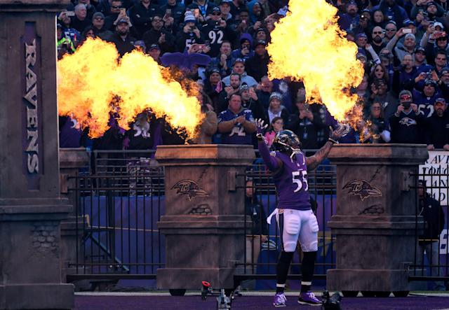 "<a class=""link rapid-noclick-resp"" href=""/nfl/teams/baltimore/"" data-ylk=""slk:Ravens"">Ravens</a> coach John Harbaugh said he was surprised by <a class=""link rapid-noclick-resp"" href=""/nfl/players/6346/"" data-ylk=""slk:Terrell Suggs"">Terrell Suggs</a> decision to leave the Ravens after 16 seasons and sign with the <a class=""link rapid-noclick-resp"" href=""/mlb/teams/st-louis/"" data-ylk=""slk:Cardinals"">Cardinals</a>. (Mark Goldman/Getty Images)"