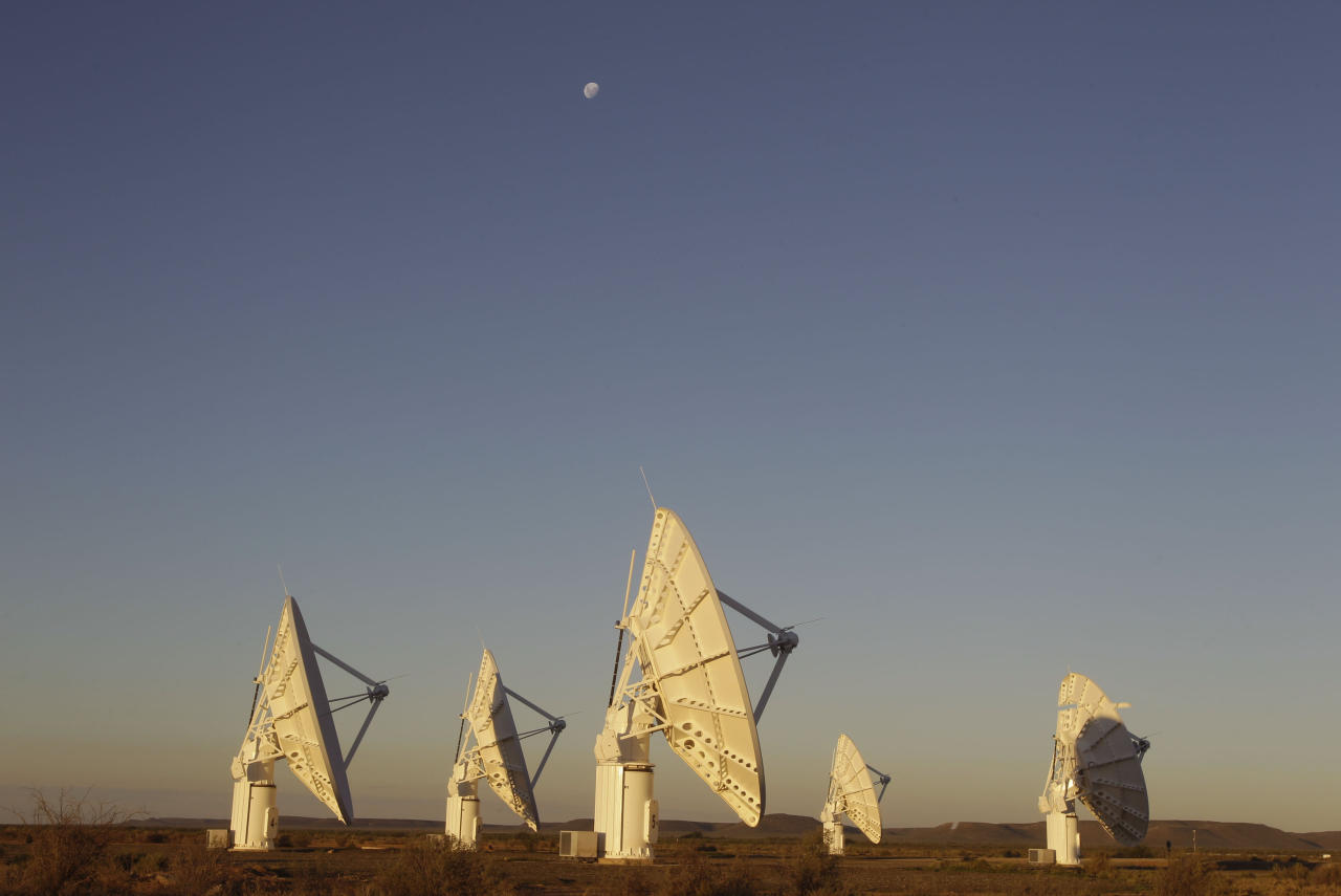 This photo taken Tuesday, April 3, 2012, shows telescope dishes near the Karoo town of Carnarvon, South Africa, which is announced Friday May 25, 2012, as the site of the proposed Square Kilometre Array (SKA) radio telescope project. A giant radio telescope made up of some 3,000 separate 15-meter (49-foot) diameter dishes and intended to help scientists answer fundamental questions about the make-up of the universe will be built and based in both Australia and South Africa, the international consortium overseeing the project announced Friday. (AP Photo/Schalk van Zuydam)