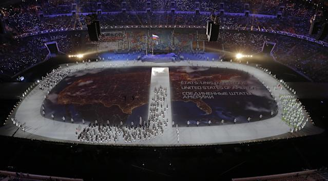 The United States team is introduced during the opening ceremony of the 2014 Winter Olympics in Sochi, Russia, Friday, Feb. 7, 2014. (AP Photo/David J. Phillip )