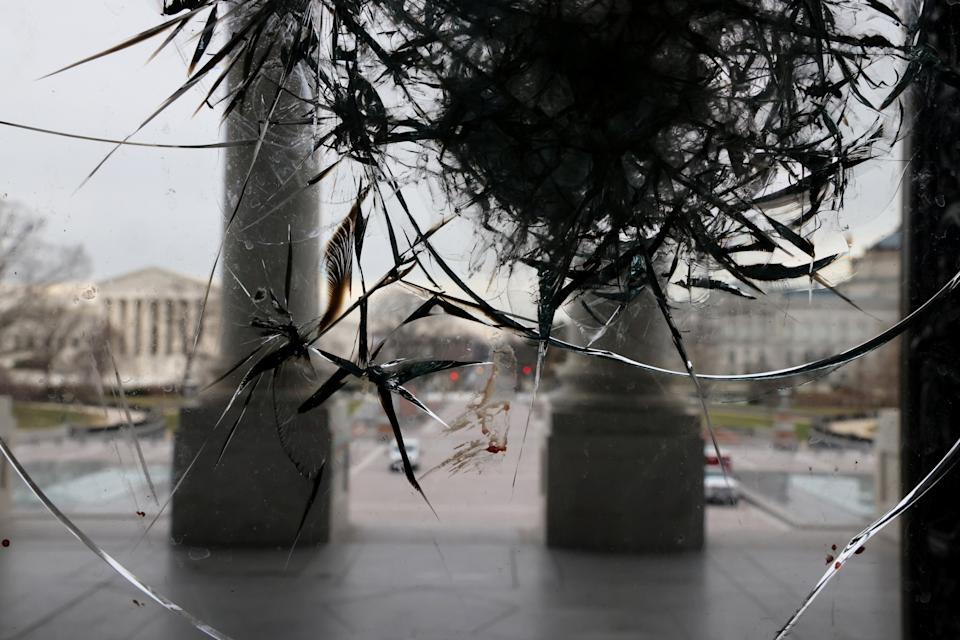 Riot damage is visible on the Rotunda doors of the U.S. Capitol in Washington, U.S. January 8, 2021. REUTERS/Jonathan Ernst