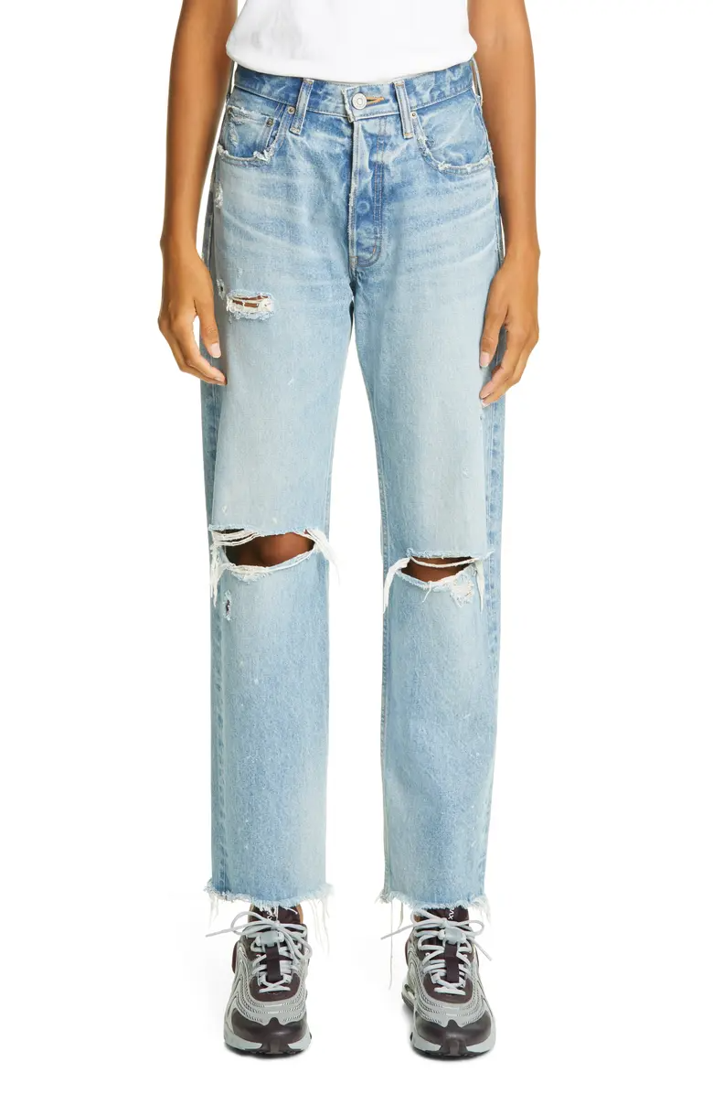"<br><br><strong>Moussy Vintage</strong> Odessa Ripped Straight Leg Jeans, $, available at <a href=""https://go.skimresources.com/?id=30283X879131&url=https%3A%2F%2Fwww.nordstrom.com%2Fs%2Fmoussy-vintage-odessa-ripped-straight-leg-jeans%2F5684245%3Forigin%3Dkeywordsearch-personalizedsort%26breadcrumb%3DHome%252FAll%2520Results%26color%3Dblu%2520110"" rel=""nofollow noopener"" target=""_blank"" data-ylk=""slk:Nordstrom"" class=""link rapid-noclick-resp"">Nordstrom</a>"