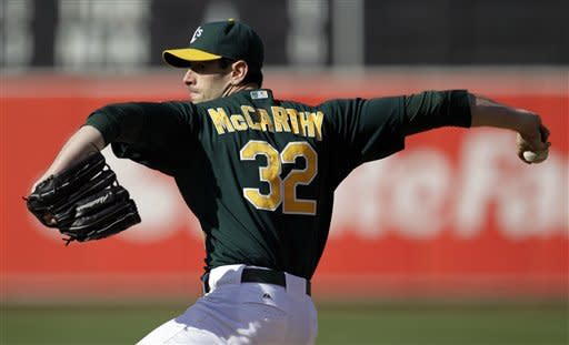 Oakland Athletics' Brandon McCarthy works against the Detroit Tigers during the first inning of a baseball game, Saturday, May 12, 2012, in Oakland, Calif. (AP Photo/Ben Margot)