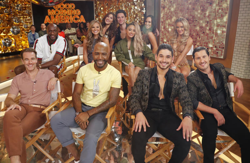 "GOOD MORNING AMERICA - 8/21/19The 2019 cast of Dancing with the Stars is revealed LIVE on Good Morning America Wednesday, August 21, 2019 on ABC. The new season of ""Dancing with the Stars,"" premieres Monday, September 16, 2019 at 8PM ET/PT on ABC. GMA19(Photo by Lou Rocco/Walt Disney Television via Getty Images) JAMES VAN DER BEEK, LAMAR ODOM, HANNAH BROWN, KARAMO BROWN, EMMA SLATER, SASHA FARBER, ALLY BROOKE, CHERYL BURKE, ALAN BERSTEN, PETA MURGATROYD, VAL CHMERKOVSKIY"