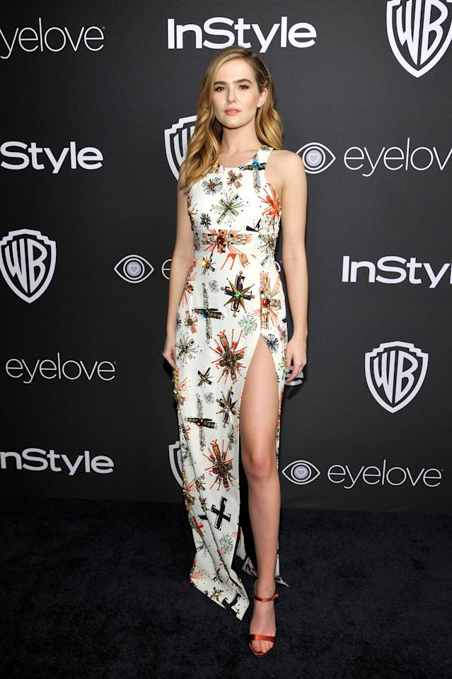 <p>The high-slit starburst-beaded gown that Deutch wore to the Annual Golden Globe Awards Post-Party in 2017 was courtesy of Fausto Puglisi, and she paired it with strappy red pumps. <br></p>