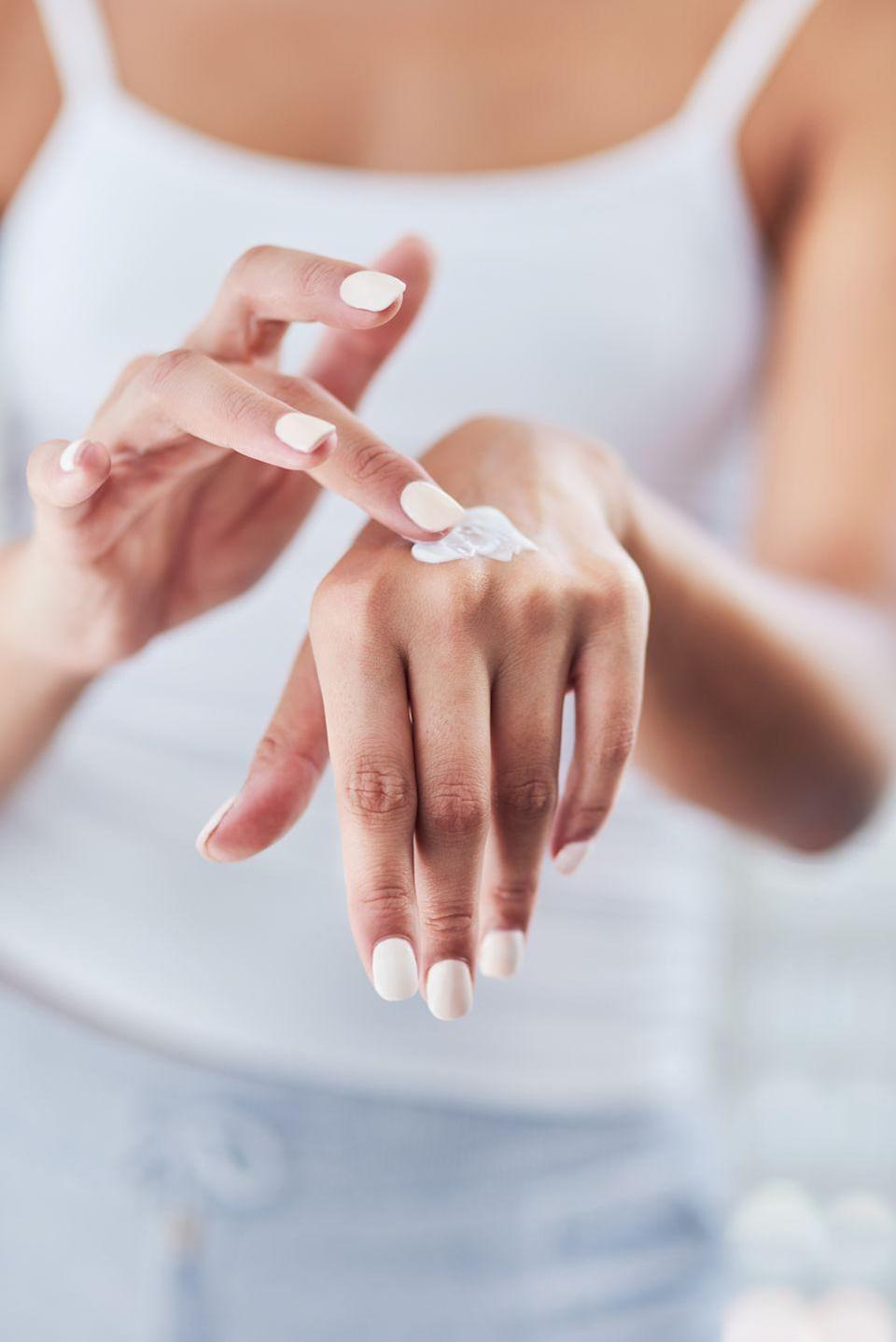 """<p>Take a few more seconds each morning to apply SPF to the backs of your hands, your neck, and your ears. """"These are common spots for several kinds of skin cancer, so it's vital not to miss them,"""" says Dr. Perez.</p>"""