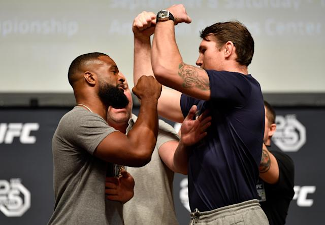 Tyron Woodley and Darren Till face off during a UFC press conference inside the Orpheum Theater on Aug. 3, 2018, in Los Angeles, California. (Getty Images)
