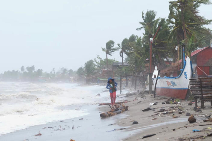 Strong waves batter the coast of Sorsogon province, central Philippines as a typhoon locally known as Goni hits the country on Sunday, Nov. 1, 2020. The super typhoon slammed into the eastern Philippines with ferocious winds early Sunday and about a million people have been evacuated in its projected path, including in the capital where the main international airport was ordered closed. (AP Photo)