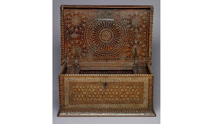 Mudejar chest, probably Barcelona, early 1500s. Walnut and inlaid ivory.