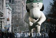<p>Of all the iconic balloons in the annual Macy's Thanksgiving Day Parade, Snoopy is the character that's appeared the most times. The <em>Peanuts</em> pup made his debut as Aviator Snoopy in 1968, decked out in a cap and pilot goggles. Astronaut Snoopy followed in 1969, after Neil Armstrong took his first step on the moon.</p>