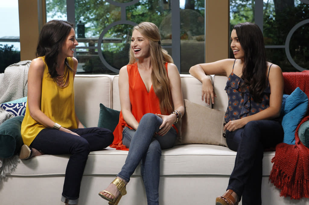 "Rachel Harley, April Francis, and Libby Lopez look for love in the new reality series ""3."""