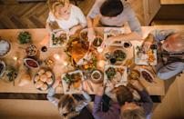 """<p>Proper table etiquette is very much still in play on Thanksgiving. That means you put your napkin on your lap, chew with your mouth closed, keep your elbows off the table and try to refrain from talking with your mouth full or gesturing with your utensils. There are also some special things to take into consideration for the holiday, including <a href=""""https://www.thedailymeal.com/holidays/never-say-thanksgiving-dinner-gallery?referrer=yahoo&category=beauty_food&include_utm=1&utm_medium=referral&utm_source=yahoo&utm_campaign=feed"""" rel=""""nofollow noopener"""" target=""""_blank"""" data-ylk=""""slk:things you shouldn't say on Thanksgiving"""" class=""""link rapid-noclick-resp"""">things you shouldn't say on Thanksgiving</a>. These include discussing controversial topics (like politics), commenting on what others are eating or bringing up stressful family memories or moments.</p>"""