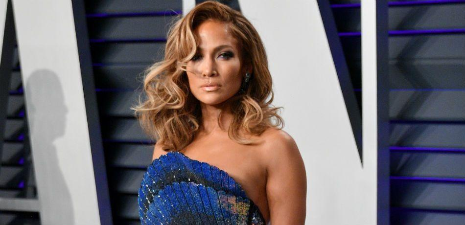 Jennifer Lopez poses at an event