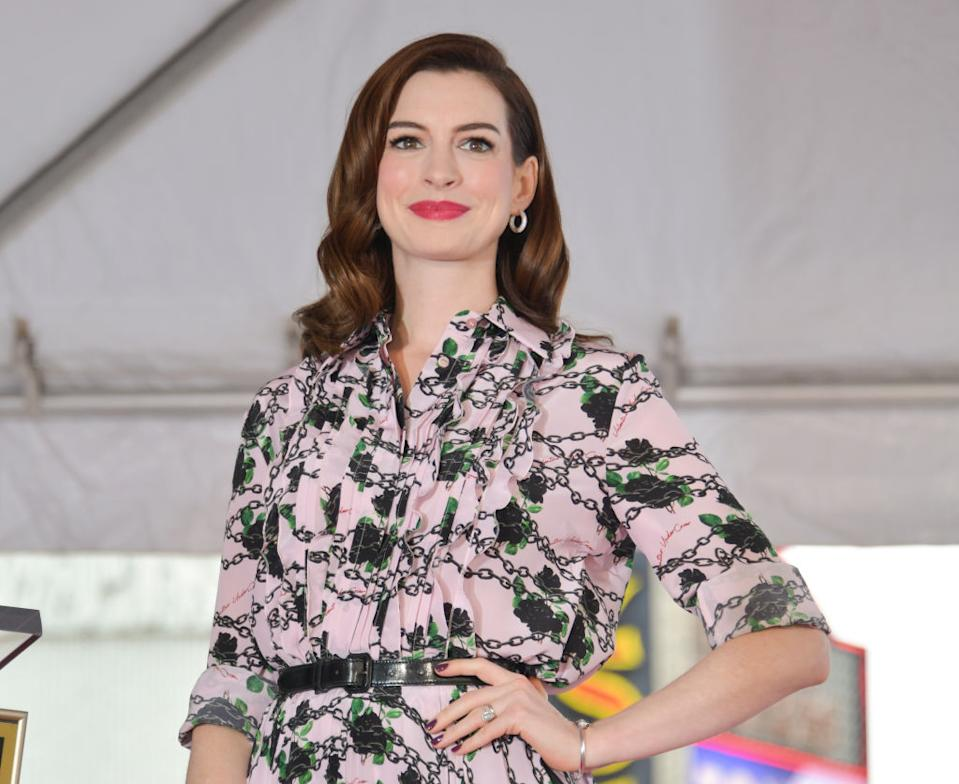 Anne Hathaway is speaking in defense of environmental activist Greta Thunberg. (Photo by Rodin Eckenroth/Getty Images)