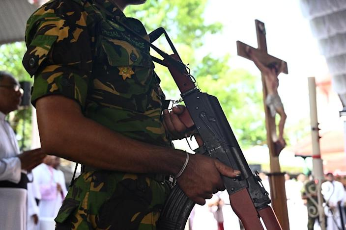 Security remained tight at the churches targeted in Sri Lanka (AFP Photo/Jewel SAMAD)