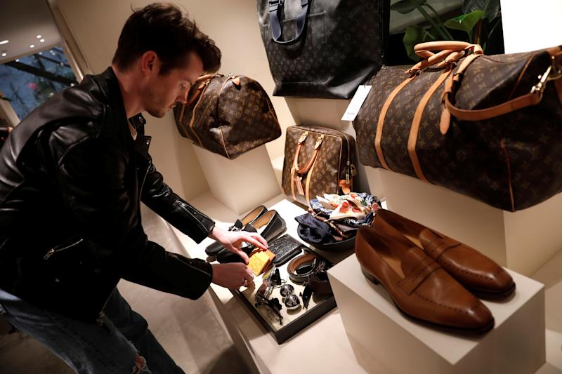 Louis Vuitton items for sale are displayed at The RealReal shop, a seven-year-old online reseller of luxury items on consignment in the Soho section of Manhattan, in New York City, New York, U.S., May 18, 2018. Picture taken May 18, 2018. REUTERS/Mike Segar