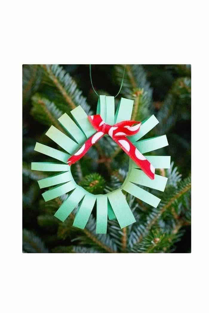 """<p>A single page of green construction paper yields a handful of evergreen wreaths for your tree. To make the task easier for little hands, cut out and assemble the wreath, then let them add the decorations—ribbons, sequins, and more. </p><p><em>Get the tutorial at <a href=""""https://www.scatteredthoughtsofacraftymom.com/5-easy-christmas-crafts-to-make-with-kids/"""" rel=""""nofollow noopener"""" target=""""_blank"""" data-ylk=""""slk:Scattered Thoughts of a Crafty Mom"""" class=""""link rapid-noclick-resp"""">Scattered Thoughts of a Crafty Mom</a>.</em></p><p><a class=""""link rapid-noclick-resp"""" href=""""https://www.amazon.com/SunWorks-Construction-12-Inches-18-Inches-100-Count/dp/B002LARR8A?tag=syn-yahoo-20&ascsubtag=%5Bartid%7C10072.g.34443405%5Bsrc%7Cyahoo-us"""" rel=""""nofollow noopener"""" target=""""_blank"""" data-ylk=""""slk:SHOP CONSTRUCTION PAPER"""">SHOP CONSTRUCTION PAPER</a></p>"""