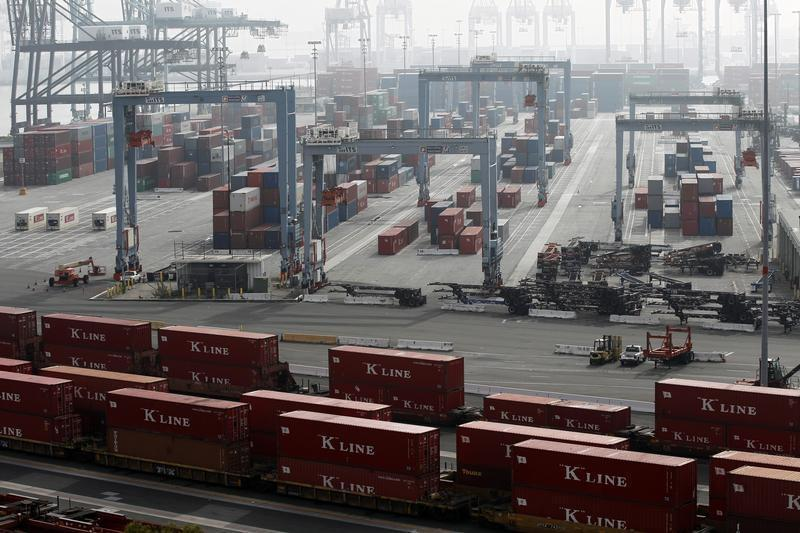 Containers are pictured at the ITS terminal at the Port of Long Beach