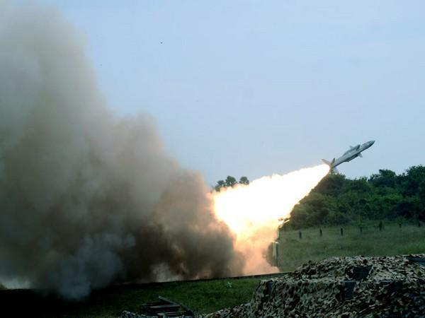 Akash air defence missiles firing by Indian Air Force during the CGWF-2020 exercise.