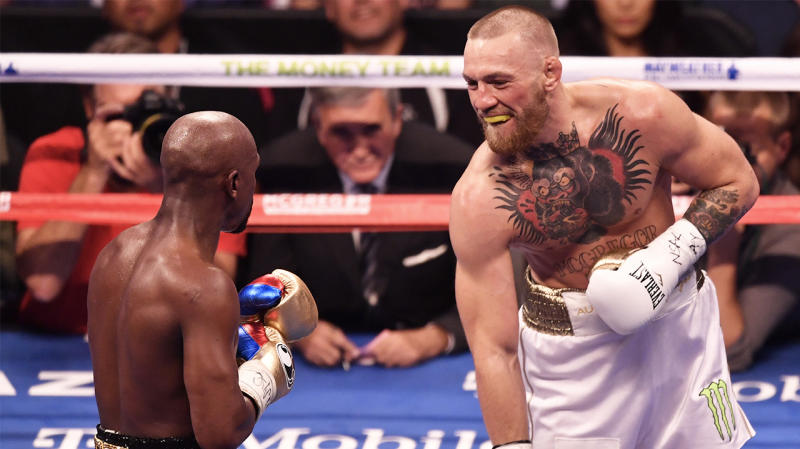 Conor McGregor (pictured right) boxing Floyd Mayweather (pictured left).