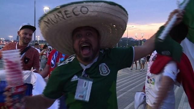 Both Mexico fans and South Korea fans in Rostov are happy with their teams' performance after Mexico won 2-1 in the Group F clash.