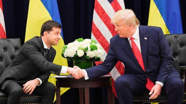 PHOTO: President Donald Trump and Ukrainian President Volodymyr Zelenskiy shake hands during a meeting in New York on Sept. 25, 2019. (Saul Loeb/AFP/Getty Images)