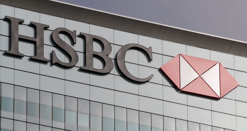 FILE PHOTO: The HSBC logo is seen at their offices at Canary Wharf financial district in London