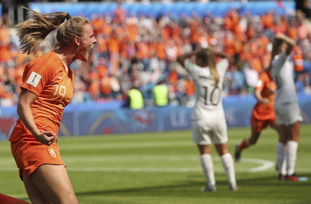 Jill Roord (19) yells in celebration after her winning goal for the Netherlands against New Zealand. (Associated Press)