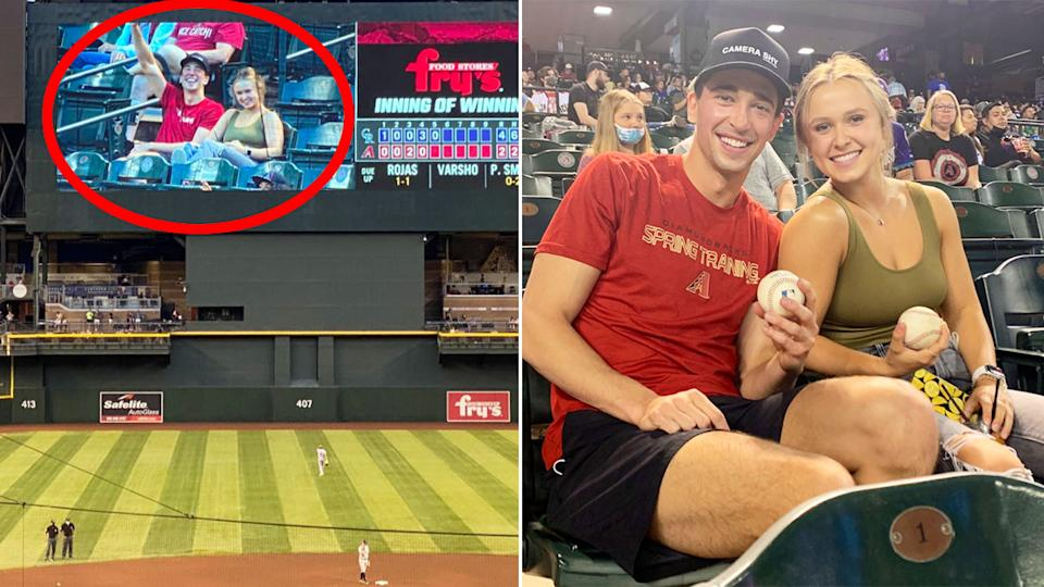 Seen here, an Arizona Diamondbacks fan and his date at the baseball game.