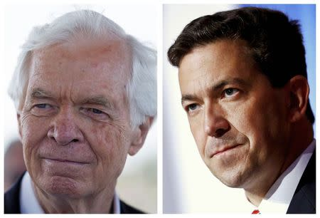 A combination photo shows Republican U.S. Senator Thad Cochran (L) in Pass Christian, Mississippi in this June 19, 2014 file photo and Tea Party candidate Chris McDaniel (R) in Hattiesburg, Mississippi in this June 24, 2014 file photo. REUTERS/Lee Celano (L) REUTERS/Jonathan Bachman (R)