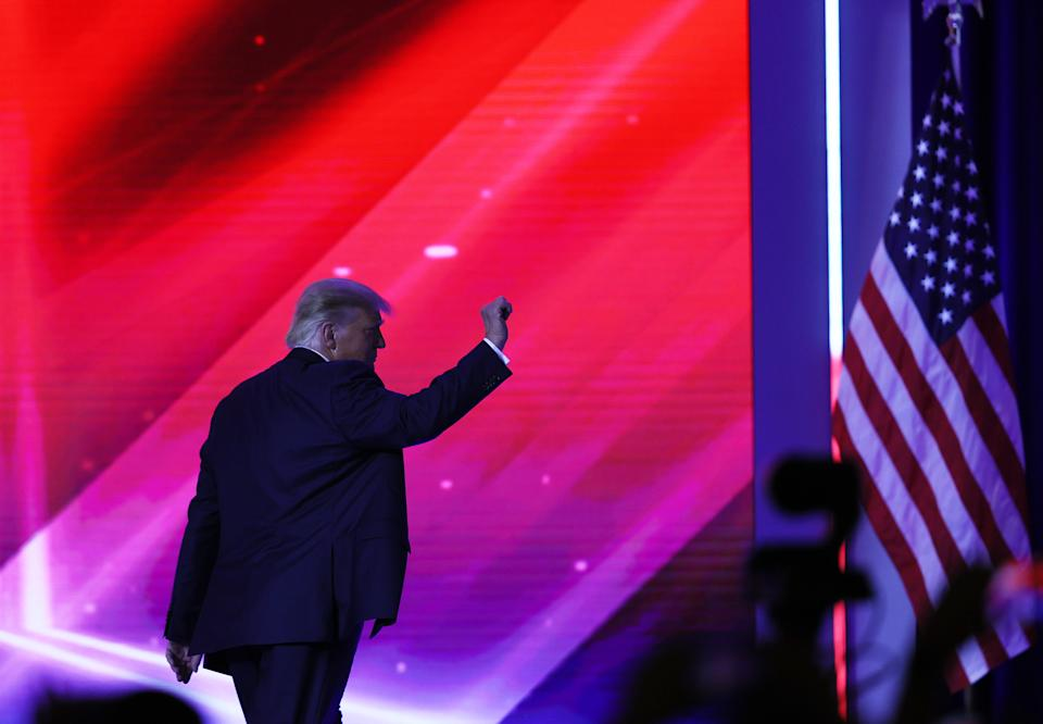 ORLANDO, FLORIDA - FEBRUARY 28:  Former President Donald Trump walks off stage after an address to the Conservative Political Action Conference (CPAC) held in the Hyatt Regency on February 28, 2021 in Orlando, Florida. Begun in 1974, CPAC brings together conservative organizations, activists, and world leaders to discuss issues important to them. (Photo by Joe Raedle/Getty Images)