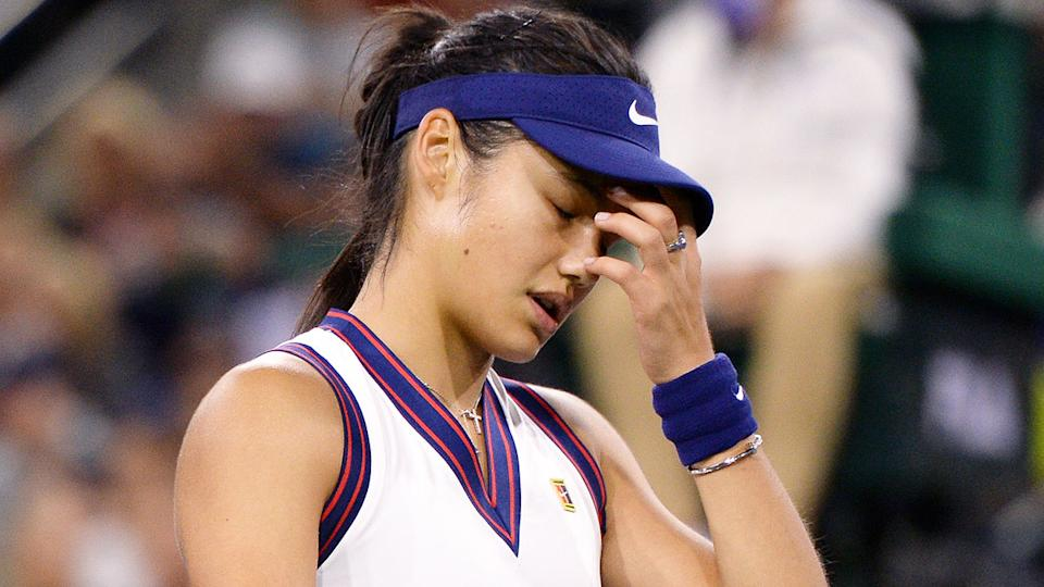 Pictured here, a disappointed Emma Raducanu reacts during her loss at Indian Wells.