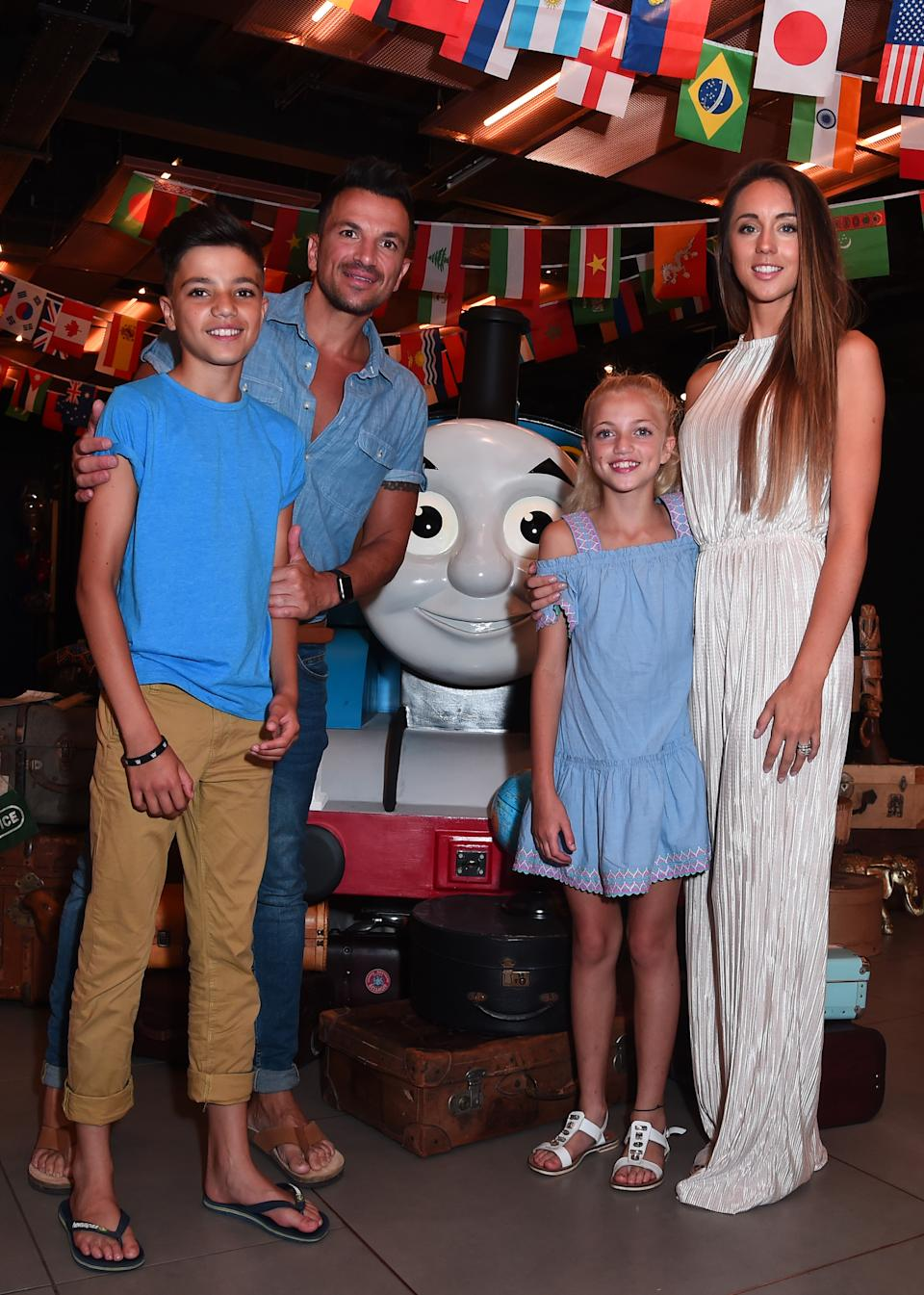 Emily Andrea with husband Peter Andre and step-children Junior and Princess in 2018. (Photo by Eamonn M. McCormack/Getty Images)