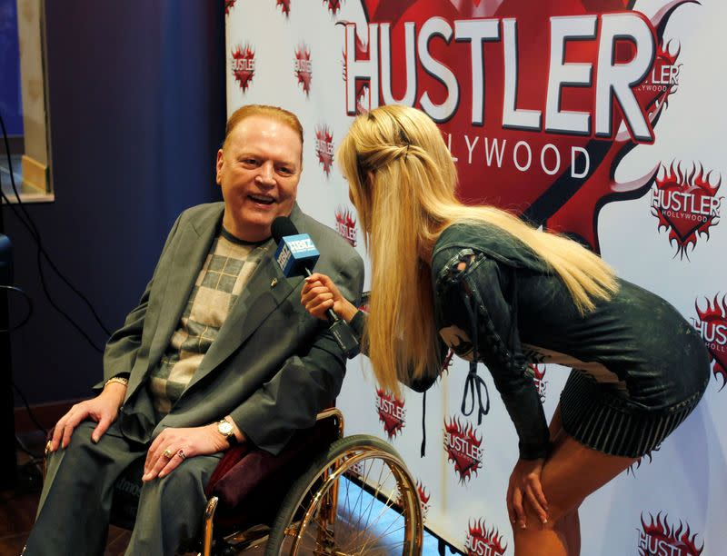 FILE PHOTO: Publisher Flynt, president of Larry Flynt Publications, is interviewed at induction ceremonies into the Hustler Hollywood Walk of Fame
