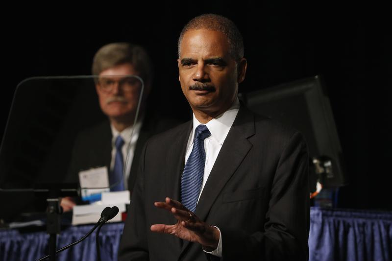U.S. Attorney General Eric Holder speaks on stage during the annual meeting of the American Bar Association in San Francisco